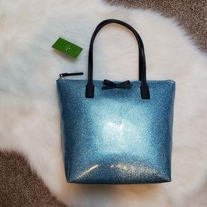 NWT Kate Spade Light Blue Glitter Tote
